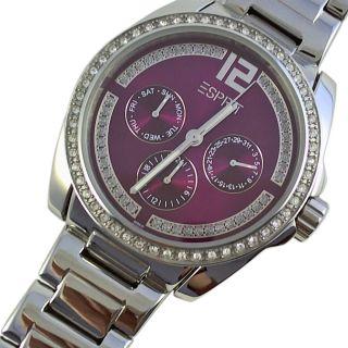 Esprit Armbanduhr Damenuhr Uhr Glänzend Violett Lila Purple Glitzer Strass Bild