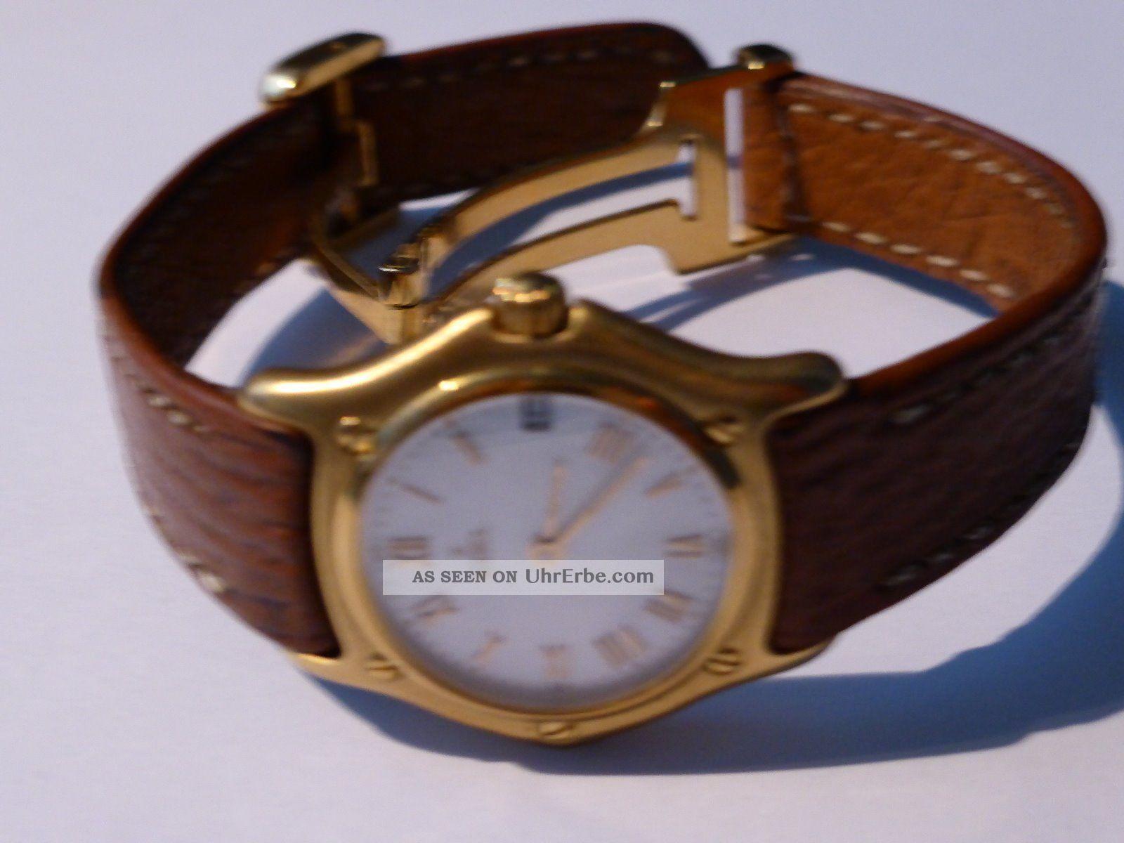 Ebel 750 Gelbgold Classiv Wave 1911 Damenuhr Am Lederarmband Armbanduhren Bild