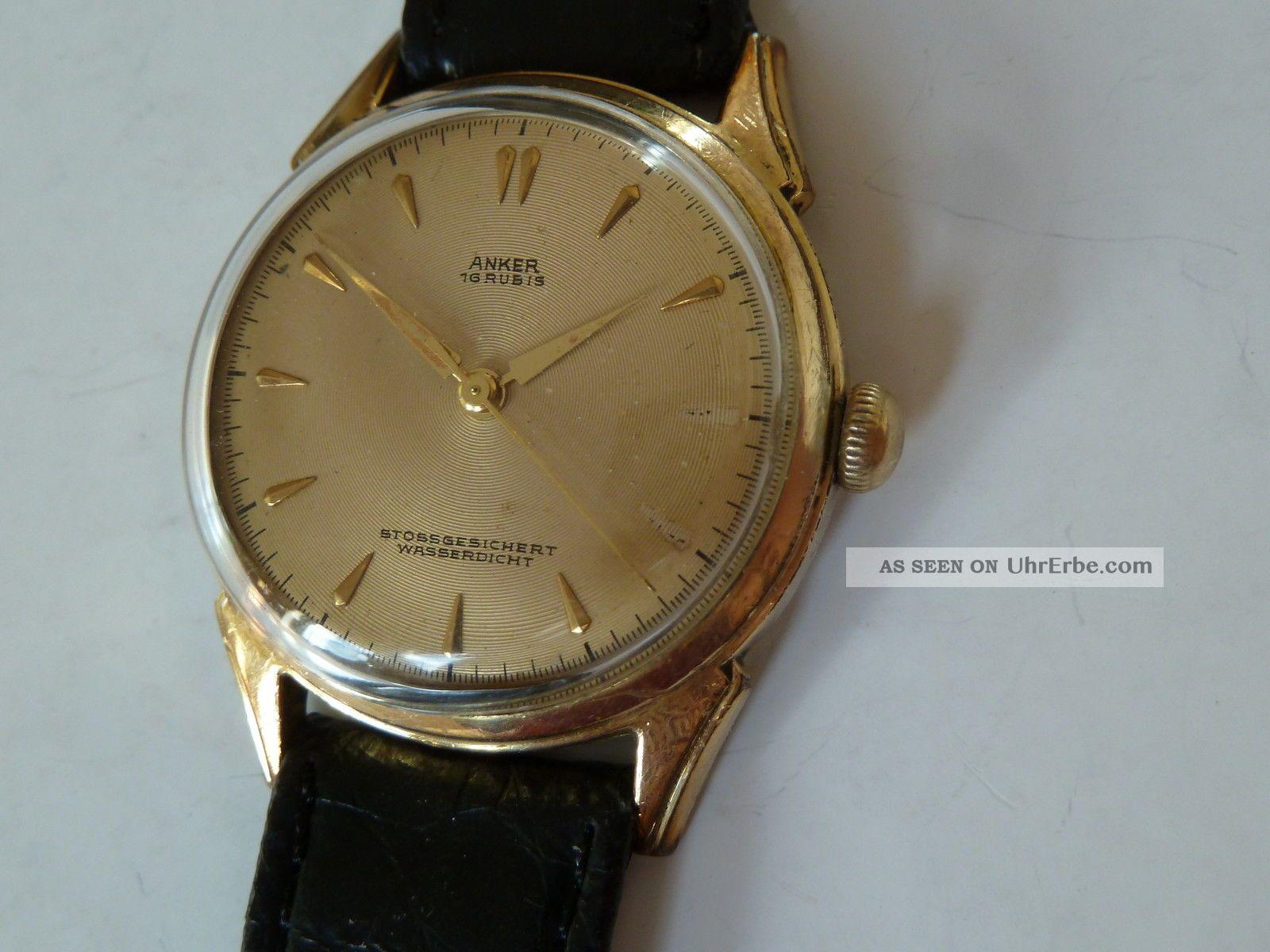 Elegante Goldene Handaufzug Analoguhr Von Anker Armbanduhren Bild