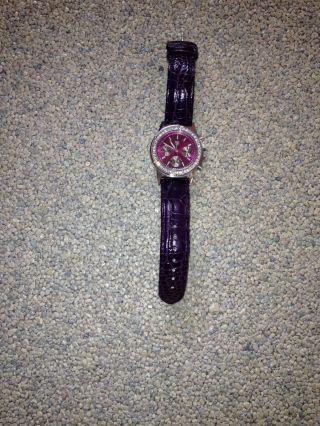 Damen Uhr Mit Lederband Und Glitzersteinchen Bild
