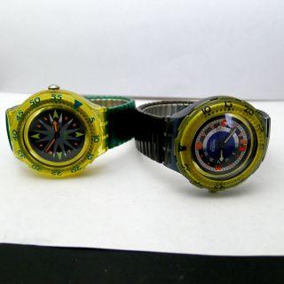 2 X Swatch Scuba Von 1992 Mit Neuer Marken Batterie Bild