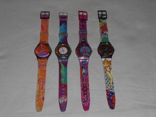 4 Swatch,  Rara Avis,  Palco,  Dehli,  Big Enuff,  1991 - 1993,  Getragen,  Funktionstüchtig Bild