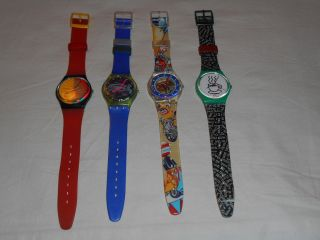 4 Swatch,  Waipitu,  Frische Fische,  Tin Toy,  Cappuccino,  1987 - 1993,  Funktionstüchtig Bild