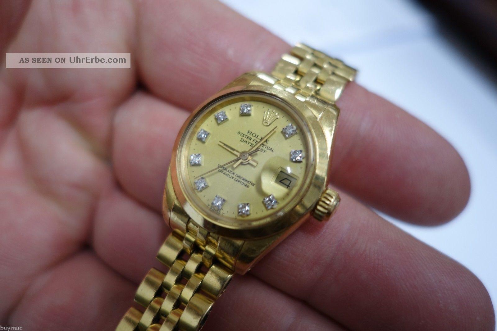 Edle Gebrauchte Rolex Lady Date Just Automatik In 18k Gold Mit Brillanten 25mm Armbanduhren Bild