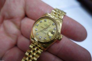 Edle Gebrauchte Rolex Lady Date Just Automatik In 18k Gold Mit Brillanten 25mm Bild