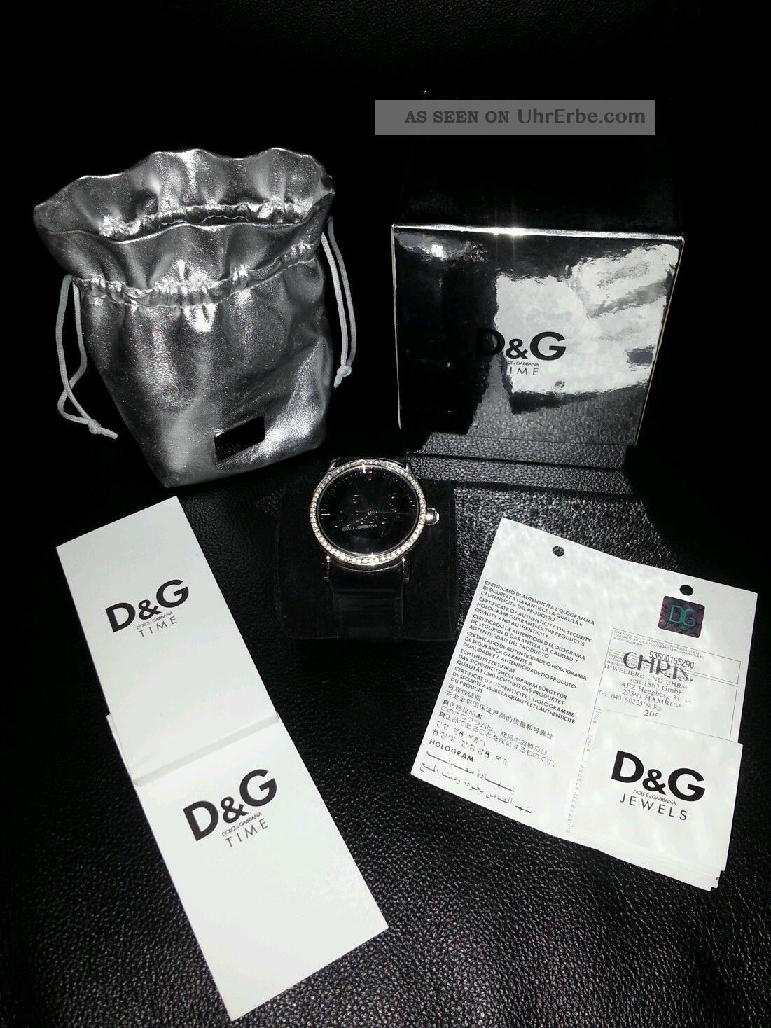 Dolce Und Gabbana D&g Damen Uhr Leder Schwarz Strass Armbanduhren Bild