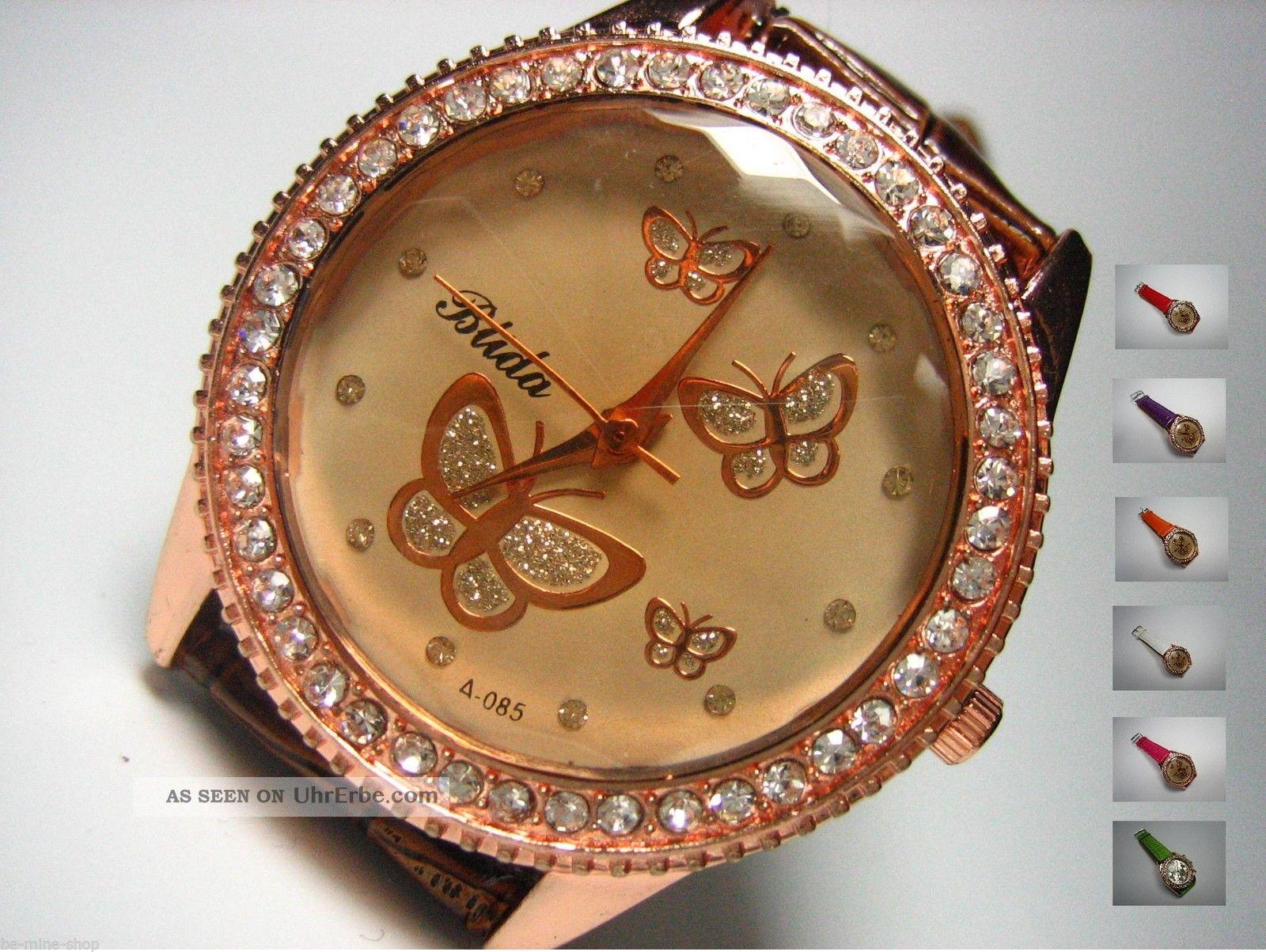 Uhr Damen Strass Rosé - Gold Schmetterling Butterfly Kroko Style Armbanduhren Bild