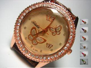 Uhr Damen Strass Rosé - Gold Schmetterling Butterfly Kroko Style Bild