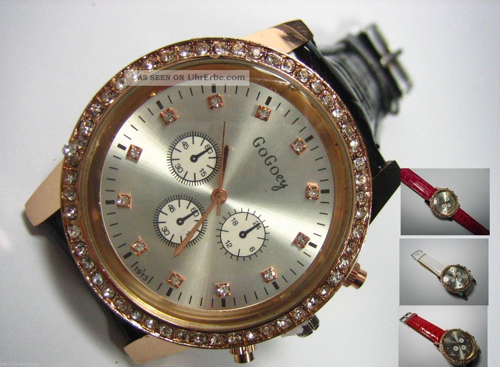 Damen Uhr Strass Zirkonia Gross Rosé - Gold Chronograph Kroko Lederarmband Armbanduhren Bild