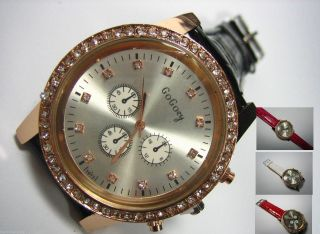 Damen Uhr Strass Zirkonia Gross Rosé - Gold Chronograph Kroko Lederarmband Bild