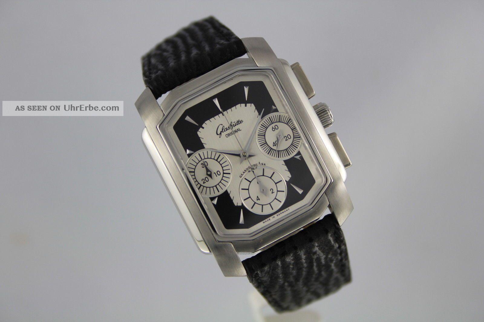Glashütte Senator Karree Chronograph - Edelstahl Referenz 39 - 31 - 17 - 04 - 14 Armbanduhren Bild
