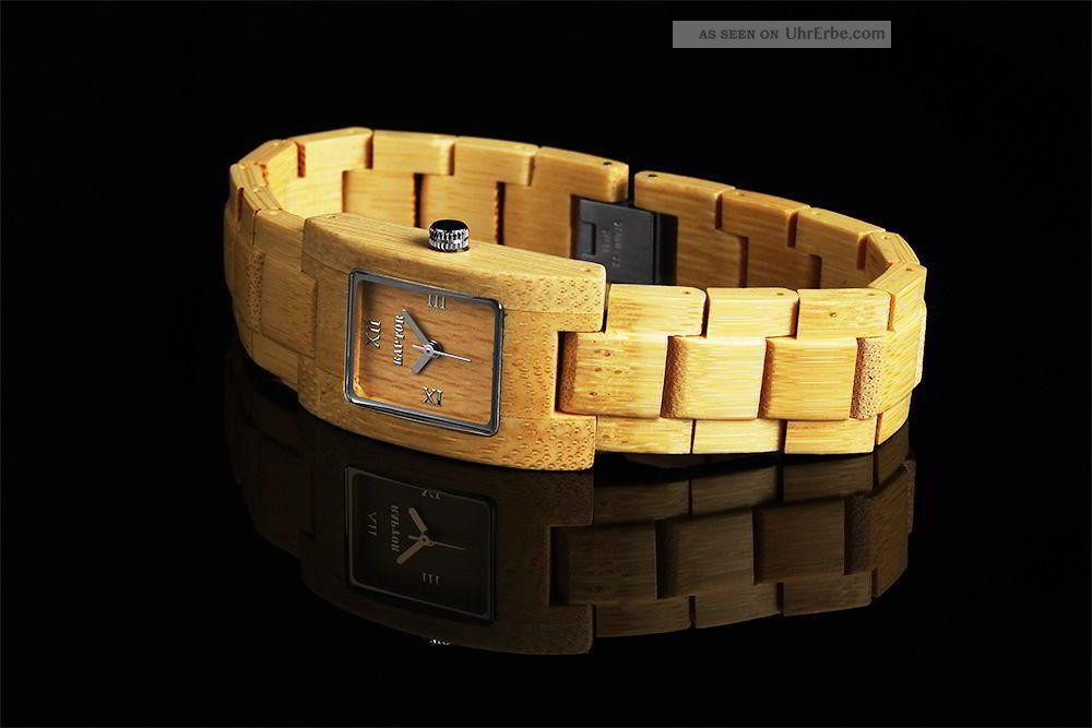Damen Uhr Armbanduhr Bambus Beige Raptor Holz Quadrat