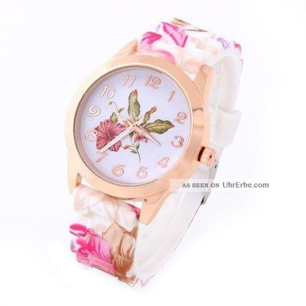 Armbanduhr Damenuhr Frauen Silikon Rose Gold Pink Hibiskus Blumen Flower Uhr Armbanduhren Bild