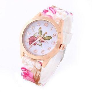 Armbanduhr Damenuhr Frauen Silikon Rose Gold Pink Hibiskus Blumen Flower Uhr Bild