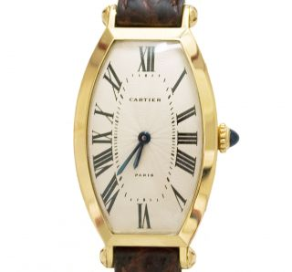 Seltene Cartier Tonneau Sm/tan Strap Calf 18 - Ct.  Massivgold,  Cartier Mechanikwerk Bild