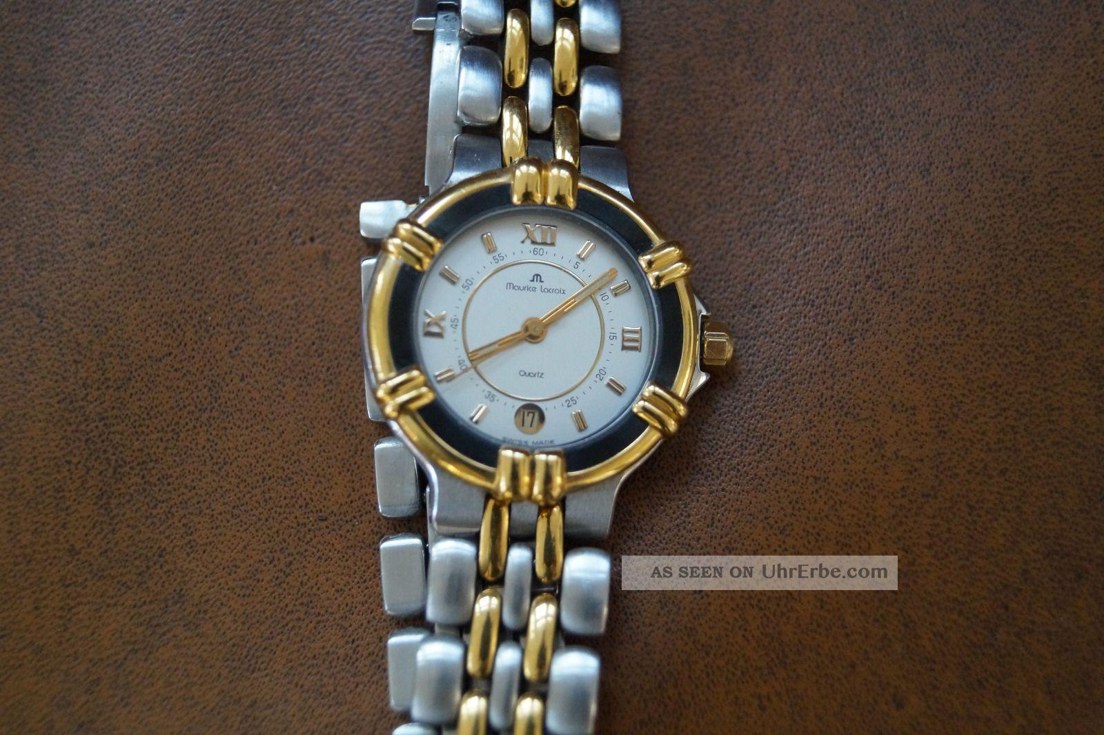 Maurice Lacroix Damenuhr Calypso Stahl/gold Quartz Perlmuttzifferblatt Armbanduhren Bild