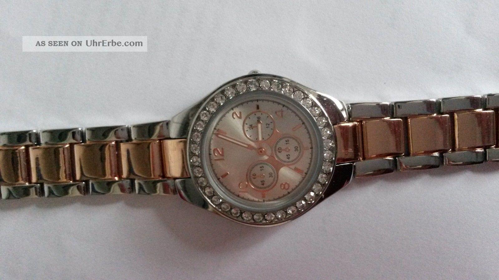 Uhr Bijou Brigitte Bicolor Silber Rosegold Strasssteine - 1 X Getragen Armbanduhren Bild