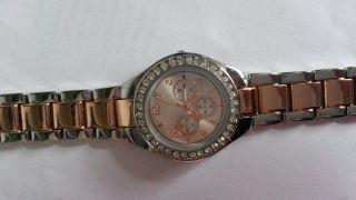 Uhr Bijou Brigitte Bicolor Silber Rosegold Strasssteine - 1 X Getragen Bild