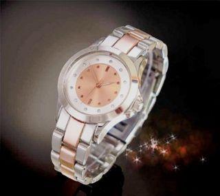 Yves Rocher Armbanduhr Rosegold Und Silberfarben Mit 12 Strass - Steinen Bild