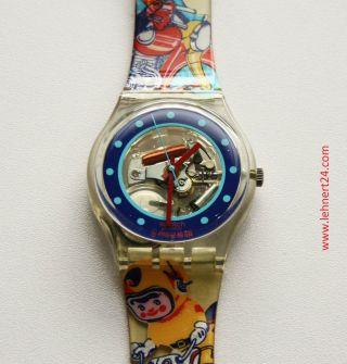 Gent Swatch Tin Toy Gk155 Mit Neuer Batterie Herren Damen Uhr Wristwatch.  Top Bild