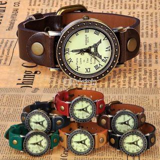 6 Farben Vintage - Frauen - Dame Eiffelturm Analog Quarz - Armbanduhr - Geschenk Bild