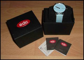 Edc By Esprit Damen Armbanduhr Weiß/blau Karo Ovp Schmuck Kette Ring Top Bild