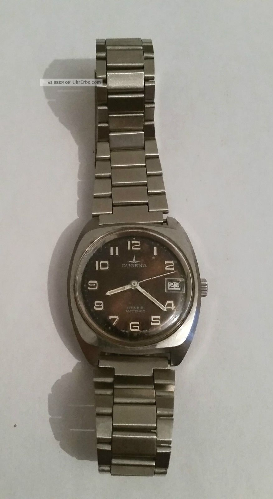 Dugena 17 Rubis Antichoc Analog Handaufzug Datumsanzeige Edelstahl Geprüft Vwp Armbanduhren Bild