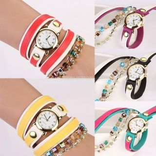 Damen Circumvolute Kristall - Armband Lederband - Kette Quarz - Armbanduhr Bild