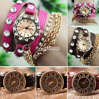 Weinlese Wrist Wrap Weave Retro Kristall Dekor Ketten Quarz Leder Armband Uhren Bild