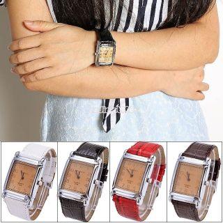 Neue Mode Edelstahl Kunstleder Kleid Uhren Männer Frauen Armband Quarzuhren C8 Bild