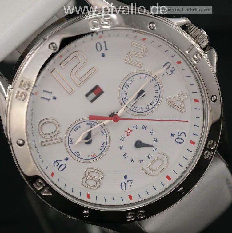 Tommy Hilfiger Damenuhr Damen Uhr Leder Datum Wochentag Weiiß Silber 1781177 Armbanduhren Bild