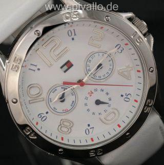 Tommy Hilfiger Damenuhr Damen Uhr Leder Datum Wochentag Weiiß Silber 1781177 Bild