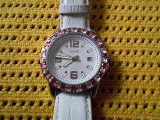 Esprit 103342 Damen Uhr,  Mit Steinen Geschmuckt,  Lederband,  Top Bild