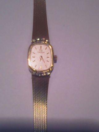 Omega Damen Armband Uhr Gold 858.  Mit 8 Brillanten Bild