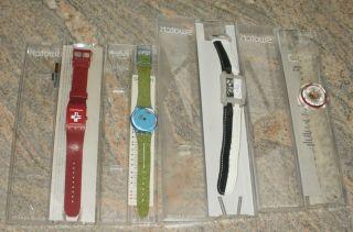 Swatch 4 X Uhren: Subr100,  Gn197,  Sufk104,  Pmr102 Mit Verpackung Ex Sammlung Bild
