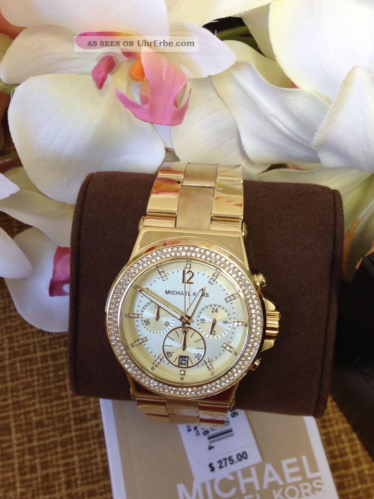 Michael Kors Mk5386 Damen Chronograph Glitz Gold Watch Weihnachten Armbanduhren Bild