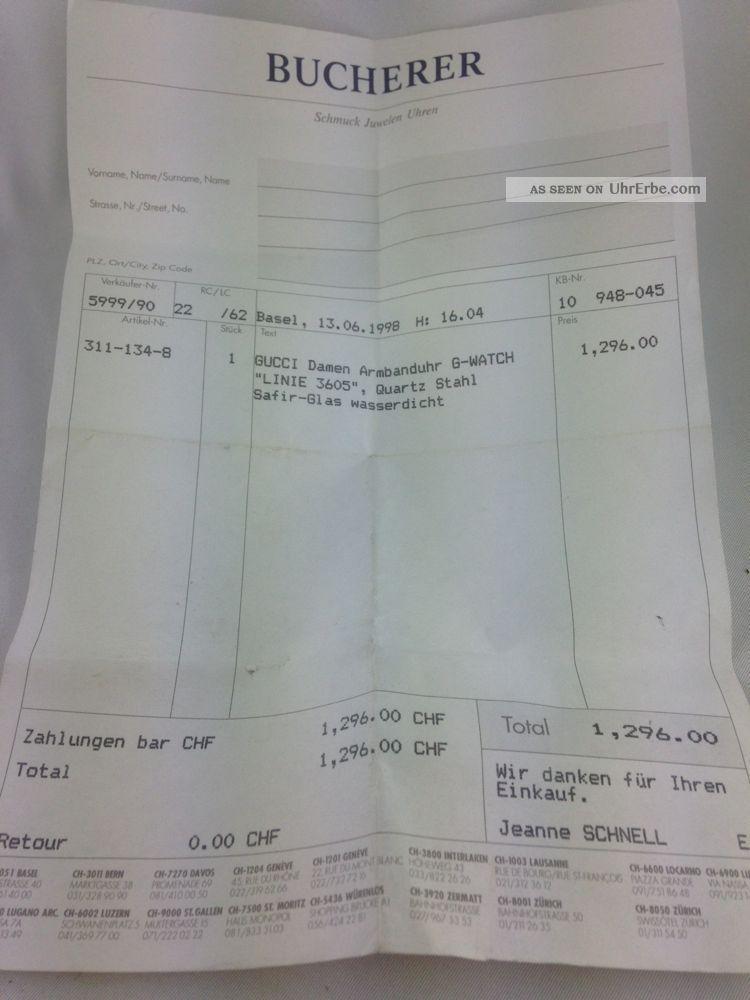 Gucci Auf Rechnung : gucci damenuhr stahl 1998 mit rechnung u garantiekarte ~ Themetempest.com Abrechnung