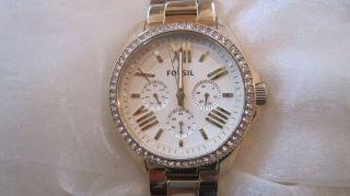 Damen Fossil Uhr Gold Swarowski Metallarmband Neuwertig Geschenkverpack Bild