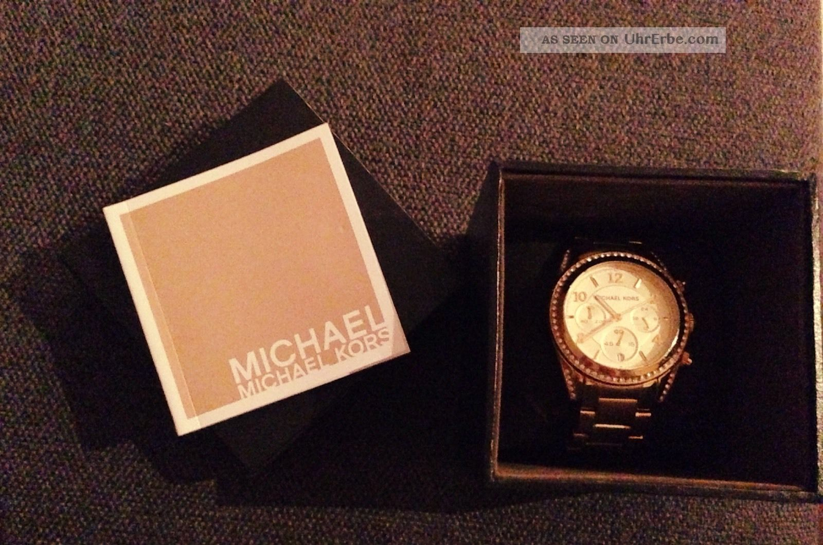 Michael Kors Gold Chronograph Zirkonia Damenuhr Ladies Watch Ritz Mk567 Armbanduhren Bild