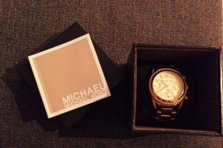 Michael Kors Gold Chronograph Zirkonia Damenuhr Ladies Watch Ritz Mk567 Bild