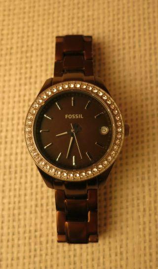 Fossil Uhr Armbanduhr Damen Braun Kupfer Silber Glitzer Schmuck Xs Bild