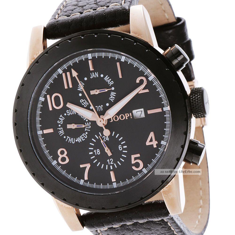 Joop Damen & Herren Uhr Jp100631f03 Schwarz Rosé Leder Armbanduhren Bild