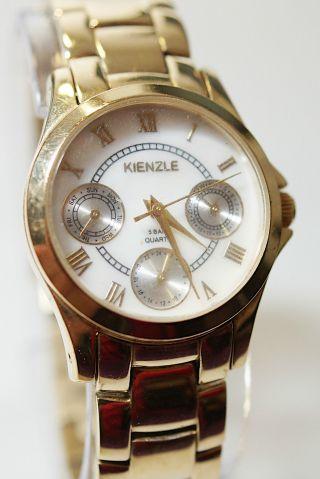 Kienzle 5 Bar Quarz Messing Damenuhr Armband Römische Zahl Funktion Ok Bild