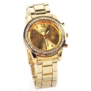 Geneva Freund - Stil Metall Kristall Lünette Armbanduhr Damen Quartz Geschenke Bild