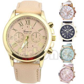 Damen Jahrgang Stil Uhren Ziffern Genf - Leder - Analoge Quarz - Armbanduhr Geschenke Bild