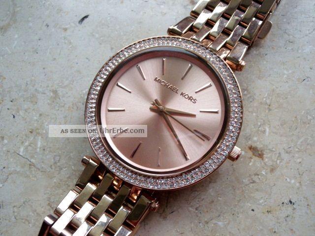 Michael Kors 3192 Damen Uhr,  Rotververg.  Stahlgehäuse/armband,  Neuwertig Armbanduhren Bild