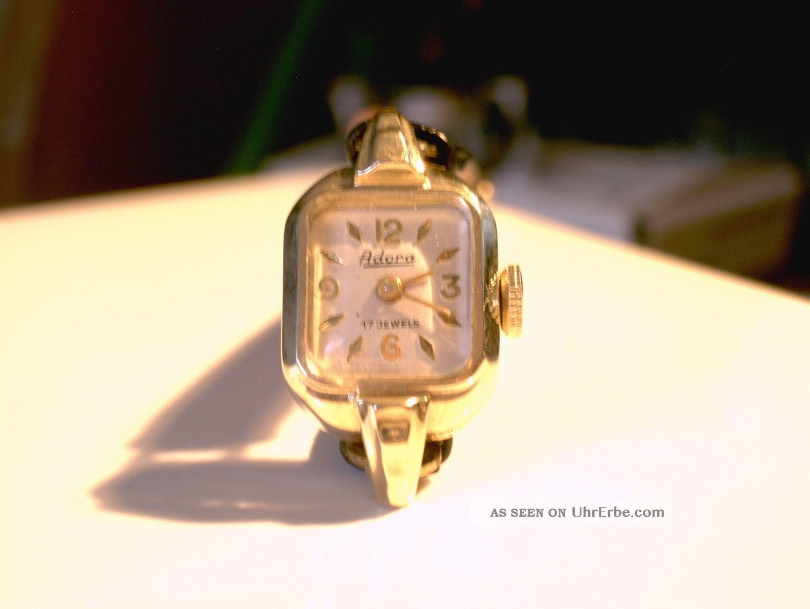 Feine Antike Adora Armbanduhr Aus 585 14 Karat Gold Für Damen Aus Sammlung Armbanduhren Bild