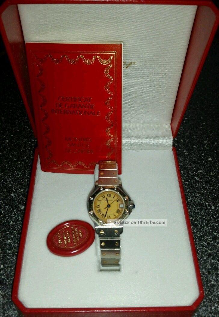 Cartier Santos Ronde Stahl/ 750 Er Gold Damenuhr Mit Datum 25mm Armbanduhren Bild