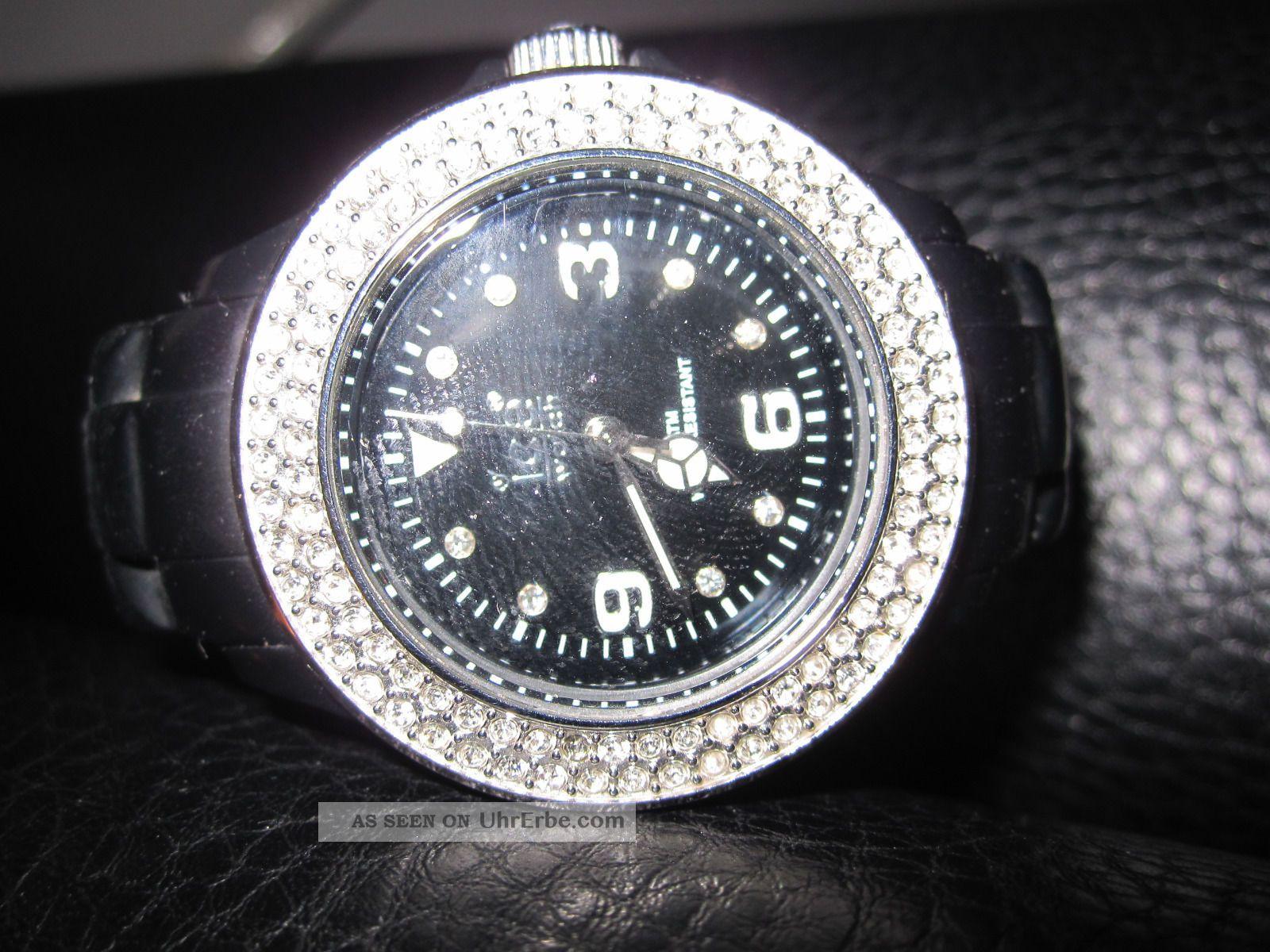 Ice Watch Schwarz Mit Zirkonia Steinchen Armbanduhren Bild