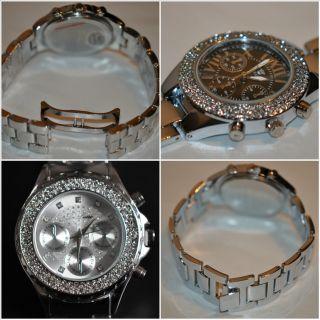 Lafissimo Designer Chronograph,  Damenuhr,  Damen Strass Uhr,  Schwarz,  Silber Bild